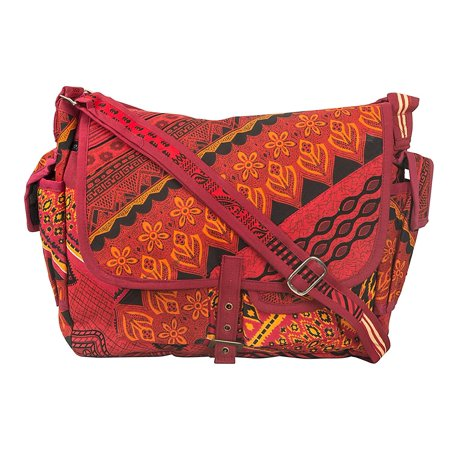 Tribe Azure Large Red Patchwork Canvas Crossbody Messenger Hobo Shoulder Bag Travel Laptop School Versatile Pockets Multi-functional Adjustable Satchel -