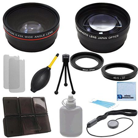 37mm Bower (Pro Series 37mm 0.43x Wide Angle Lens + 2.2x Telephoto Lens with Deluxe Lens Accessories Kit for Most Cameras + eCostConnection Microfiber Cloth )