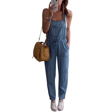 Womens Denim Jumpsuit Ladies Overalls Straps Loose Vintage Jeans Trousers With Pockets ()