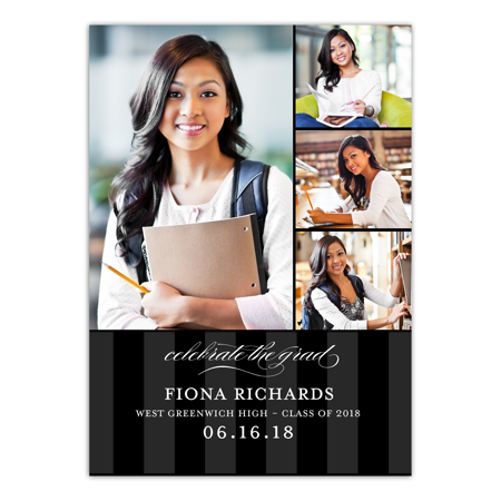 Blowout Invitation (Personalized Graduation Invitation - Classic Stripe - 5 x 7 Flat)