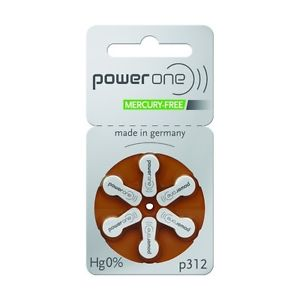 Power One Size 312 Zinc Air Hearing Aid Batteries (30 batteries) by Power One