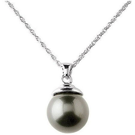 "12mm Black Shell Pearl Pendant, 20"" Sterling Silver Chain"