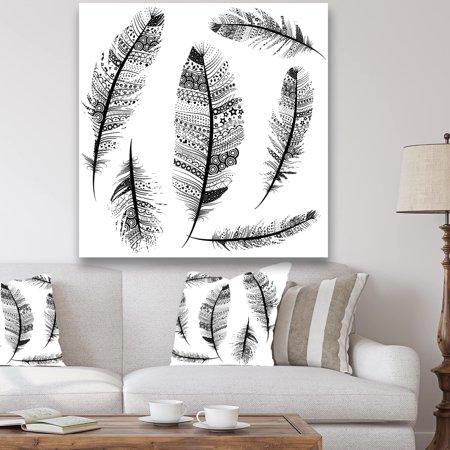 Tribal Art Carving - DESIGN ART Designart 'Vintage Feathers with tribal patterns' Vintage Canvas Art - White