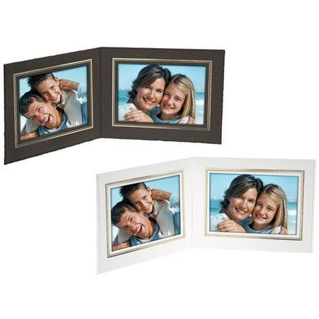 Double View Folder 6x4 Horizontal White w/Gold Foil Border (25 Pack) Gold Double Border