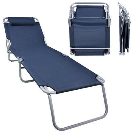 Patio Lounge Chair Dark Blue Portable Folding Chaise Bed For Outdoor Indoor Furniture Home Gargen Yard Pool Beach Camping Sleep Spa With Removable