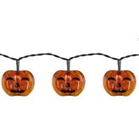 Set of 10 Battery Operated Jack-o-Lantern LED Halloween Lights - Black Wire