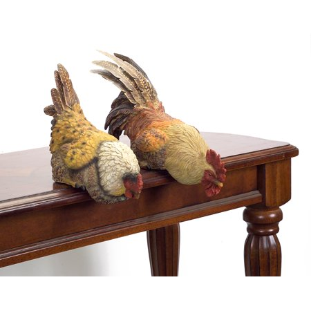 Set of 2 Country Rustic Hen and Rooster Table or Shelf Sitter (Rustic Occasional Set)