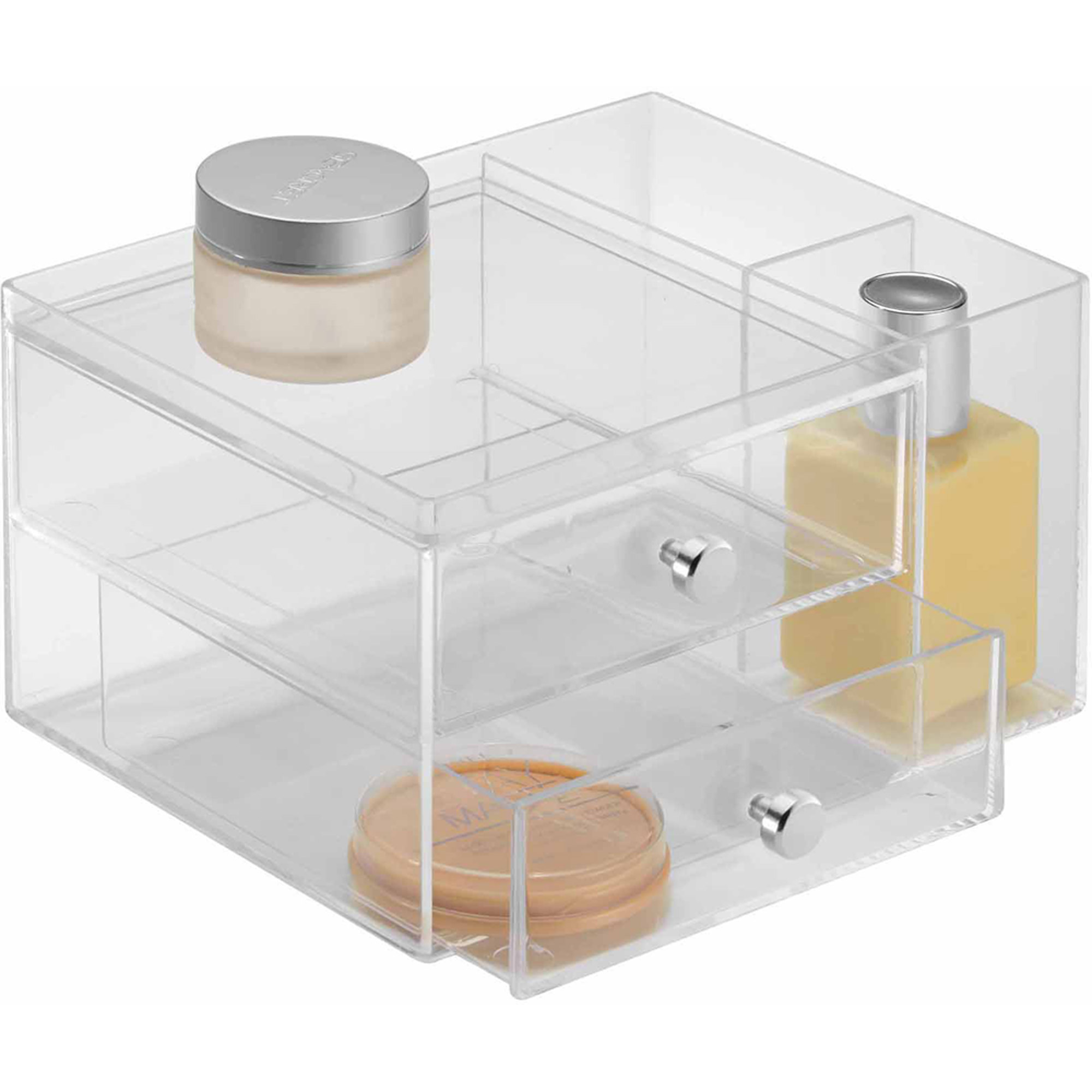makeup organizer drawers walmart. interdesign clarity cosmetic organizer for vanity cabinet to hold makeup, beauty products, 2 drawer with side caddy, clear - walmart.com makeup drawers walmart e