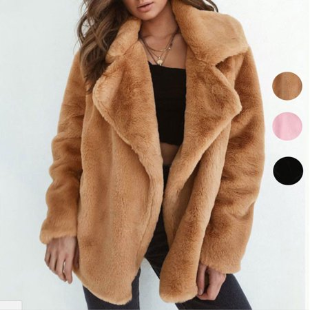 Crystal Faux Fur Jacket (Womens Oversized Teddy Bear Coat Ladies Faux Fur Borg Jacket )