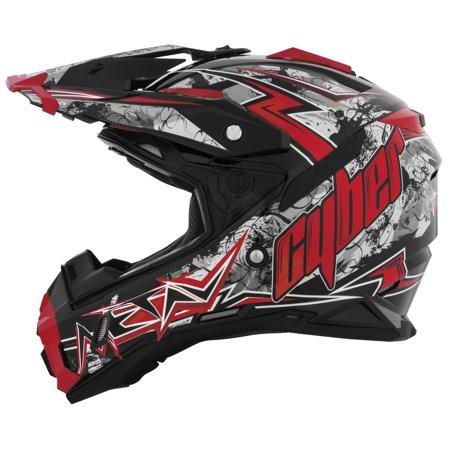 Cyber Face Helmet (Cyber Helmets Xlux 28 Lightning Blk/Red Xl Ux28-4-Bkred-Xl)