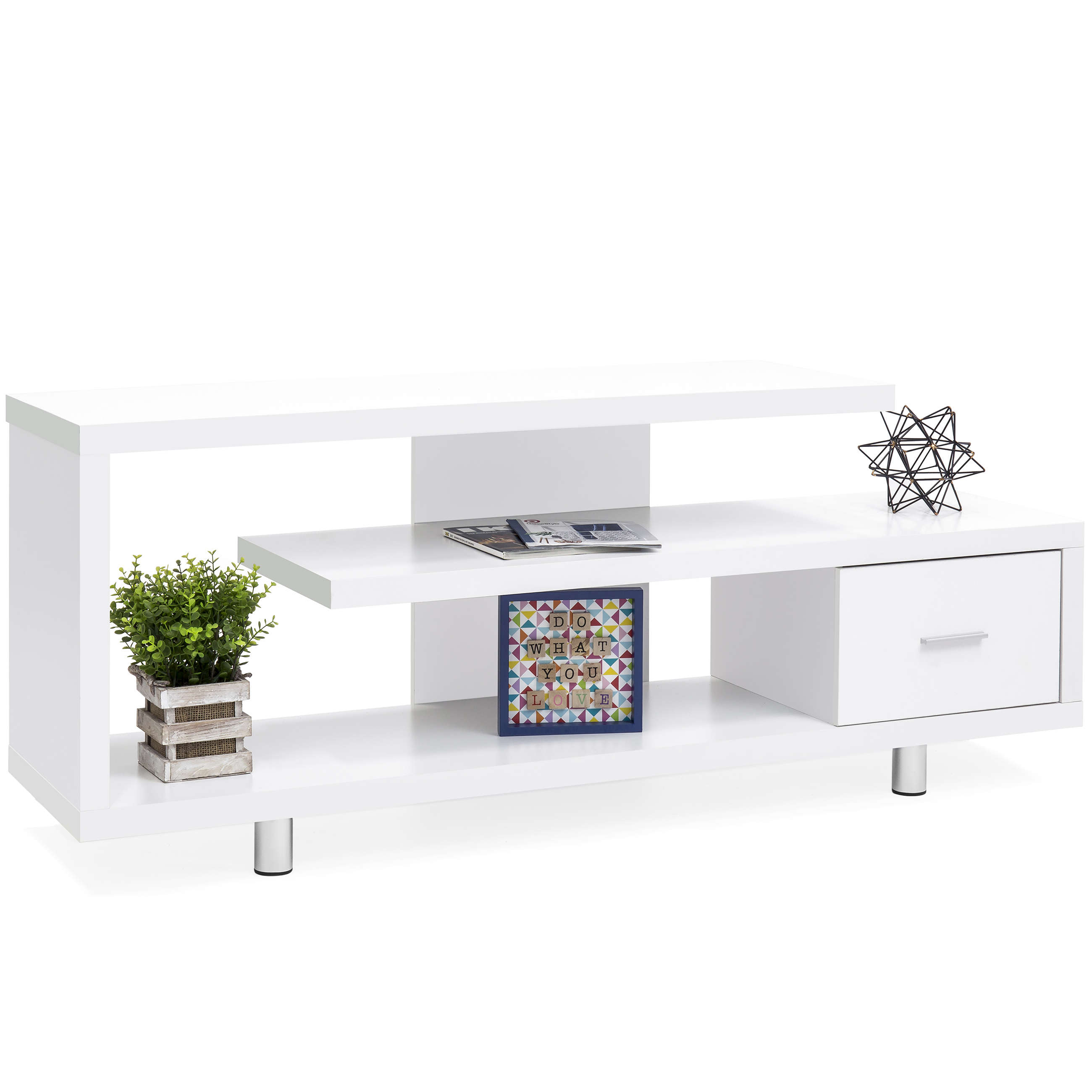 Best Choice Products TV Stand Media Console Select Channel for Home Entertainment Systems (White)