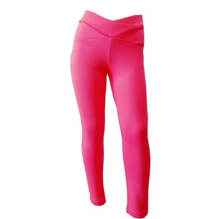 Little Girls Neon Pink Cone Shaped Waist Stretchy Legging Style Pants - Neon Pink Code