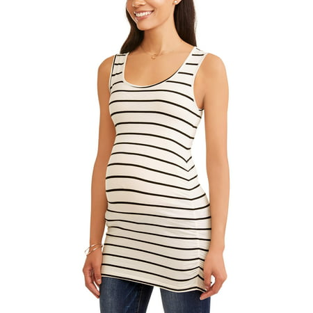 54054e70523 Oh! Mamma - Maternity Sleeveless Stripe Scoop Neck Top with Flattering Side  Ruching-- Available In Plus Sizes - Walmart.com