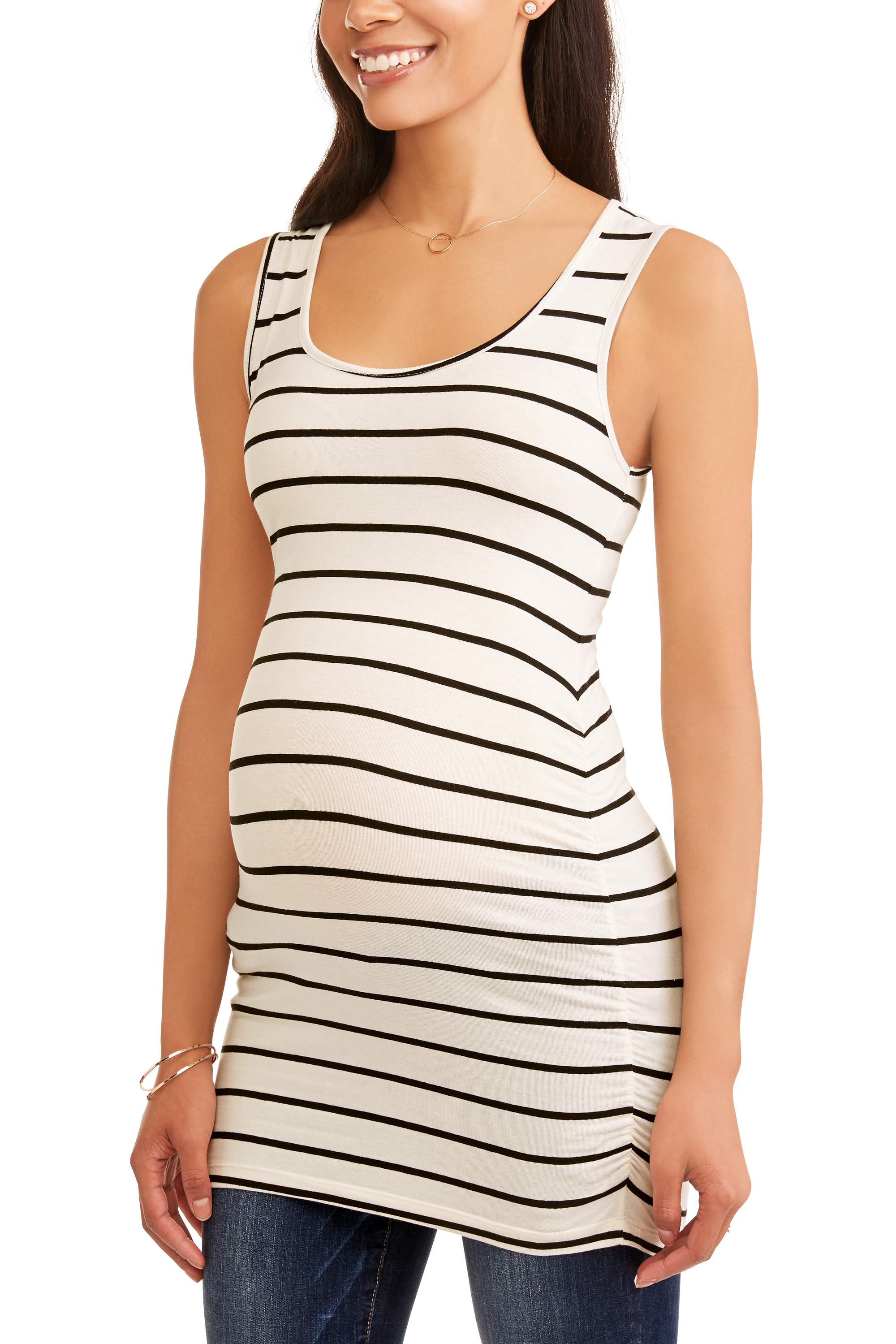 Maternity Sleeveless Stripe Scoop Neck Top with Flattering Side Ruching-- Available In Plus Sizes