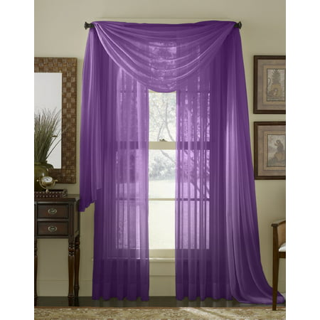 """Qutain Linen Solid Viole Sheer Scarf Window Valance Topper 37"""" x 216 inch - Purple"""