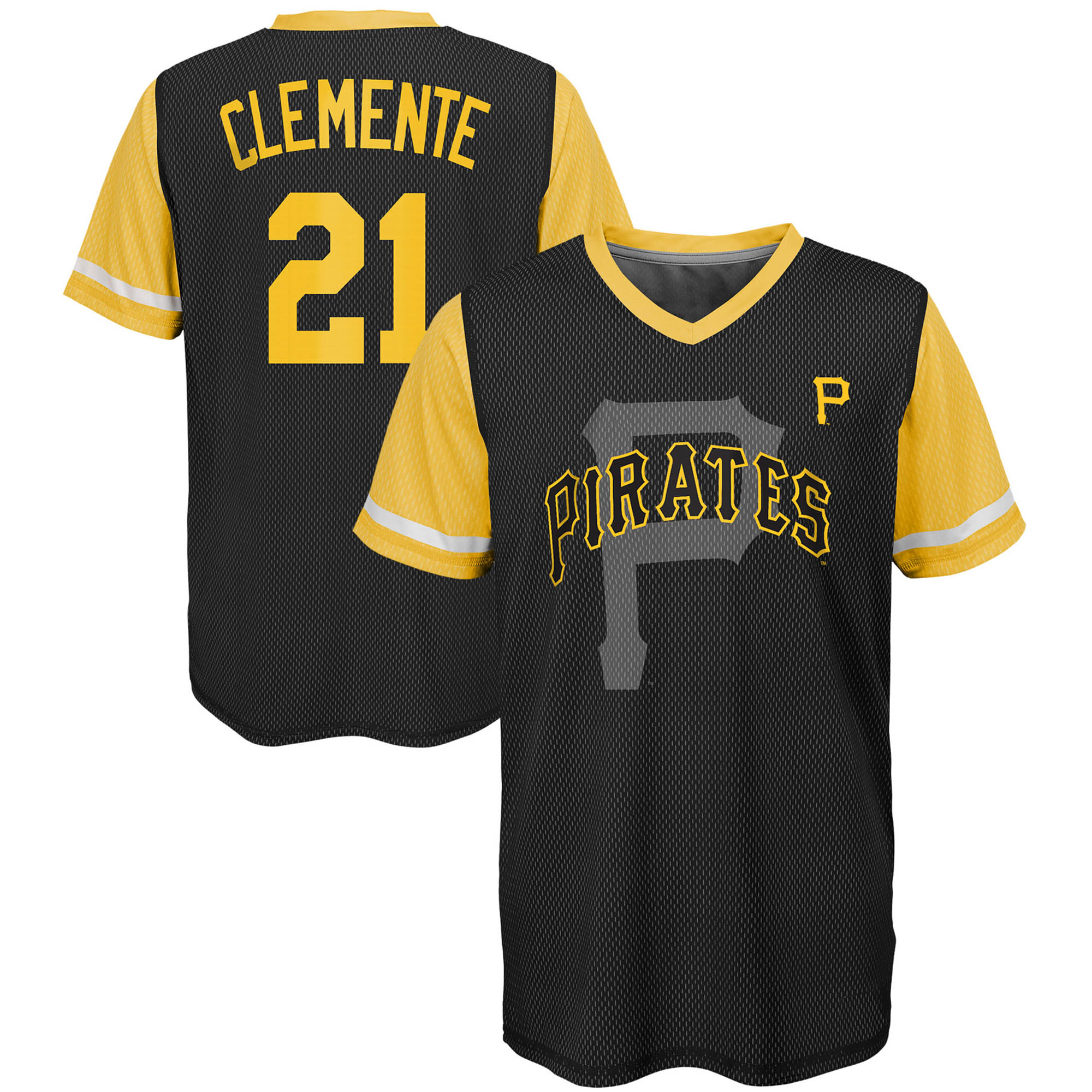 Roberto Clemente Pittsburgh Pirates Majestic Youth Cooperstown Collection Play Hard Player V-Neck Jersey T-Shirt - Black/Gold