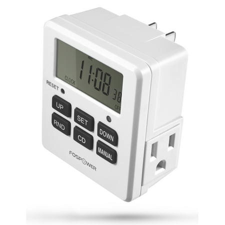 Digital Outlet Timer, FosPower [ETL Listed] Digital LCD Dual Outlet Programmable Timer, 7 Day Weekly Electrical Light Switch with 2 AC Plug 3-Prong Outlets - White