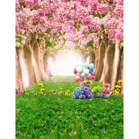 ABPHOTO Polyester 5x7ft Pink Flower Trees Cherry Blossoms Baby Girls Photography Backdrop Toy Bear Balloons Green Grass Kids Spring Photo Backgrounds for (Cherry Tree Toy)