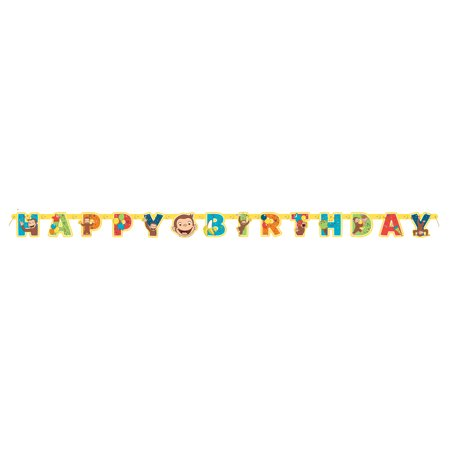 Curious George Birthday Banner, 6.5ft - Curious George Birthday Banner