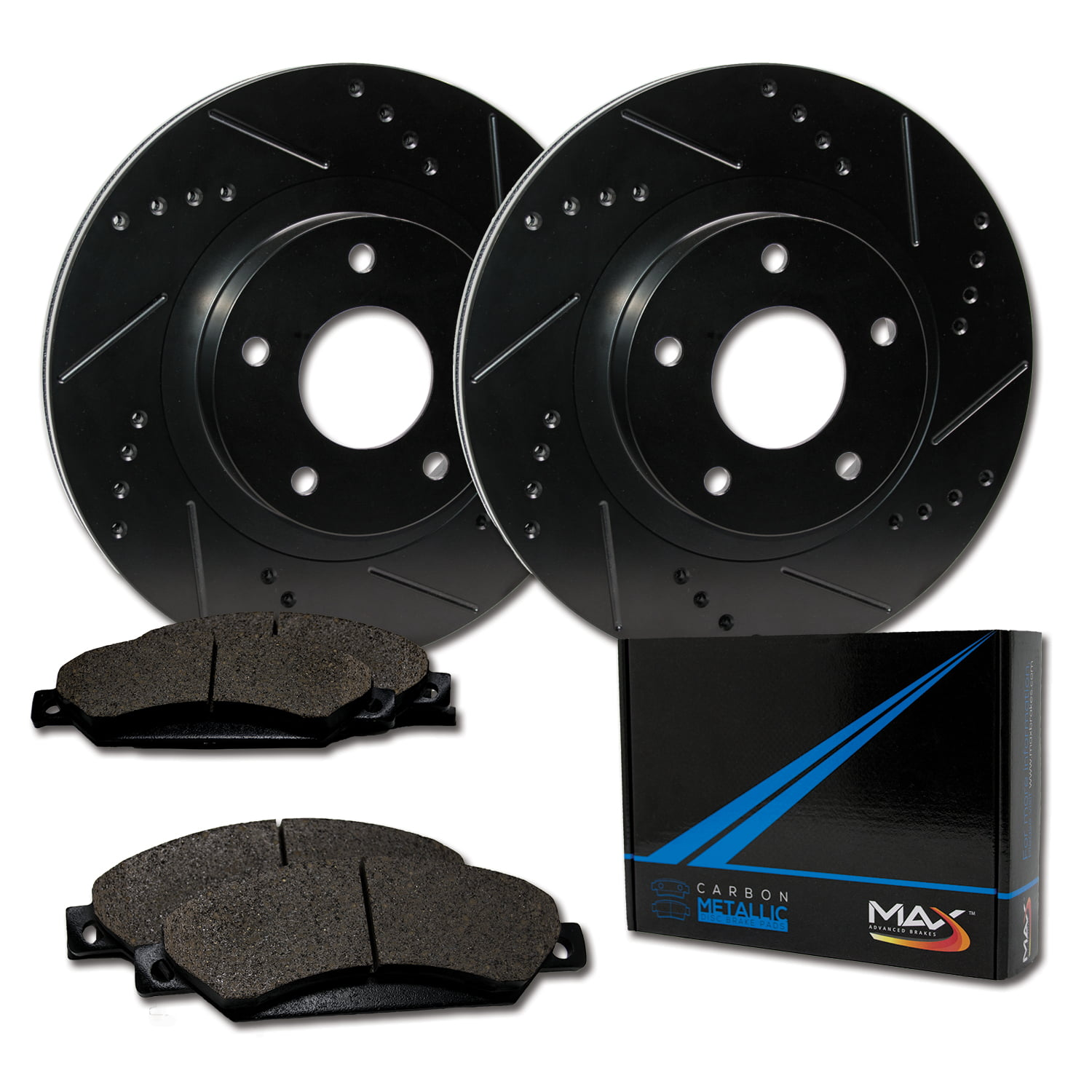 KM120732 Premium Slotted Drilled Rotors + Ceramic Pads Brakes Max Brakes Rear Supreme Brake Kit Fits: 2012 12 Ford Mustang Shelby GT500 /& 5.0L Models w//Perf