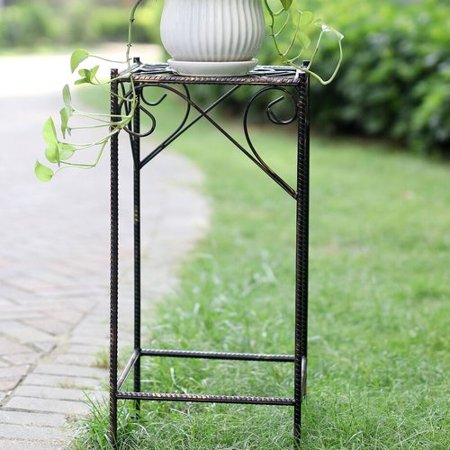 "26.18"" LARGE CELTIC CLOVER SQUARE CAST-IRON PLANT STAND"