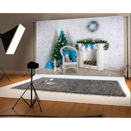HelloDecor Polyester Christmas Backdrop Decoration 7x5ft Photography Backdrop Christmas Tree Fireplace Gifts Garland Socks Wood Carpet Toys White Brick Wall Chi