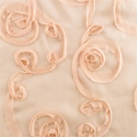 Krinkle Fabric - Blush Pink Ribbon Swirl Sparkle Crinkled Chiffon, Fabric By the Yard
