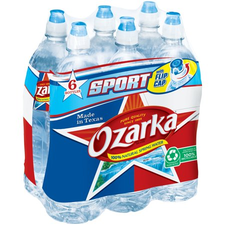 Ozarka Brand 100  Natural Spring Water  23 7 Ounce Plastic Sport Cap Bottles  Pack Of 6