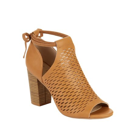 Melrose Ave Women's On The Lookout Vegan Heeled Sandal Brown Leather Slingback Heels