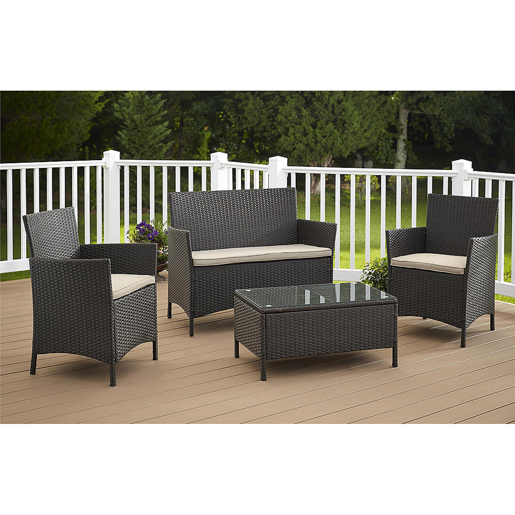 Cosco Outdoor Jamaica 4 Piece Resin Wicker Patio Conversation Set    Walmart.com