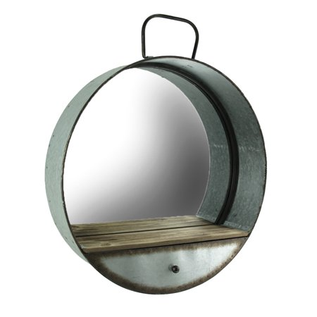 Rustic Galvanized Metal Tub Frame Round Wall Mirror with Drawer ()