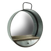Rustic Galvanized Metal Tub Frame Round Wall Mirror with Drawer
