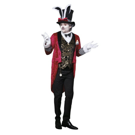 Dreamgirl Men's White Rabbit Costume Set (White Rabbit Halloween Costume Alice Wonderland)