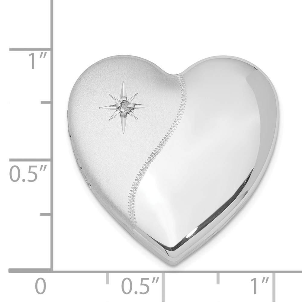 Solid 925 Sterling Silver Diamond Polish 4 Picture Family Heart Loc 24mm