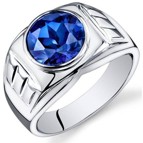 Oravo 5.50 Carat T.G.W. Men's Created Blue Sapphire Rhodium-Plated Sterling Silver Engagement Ring