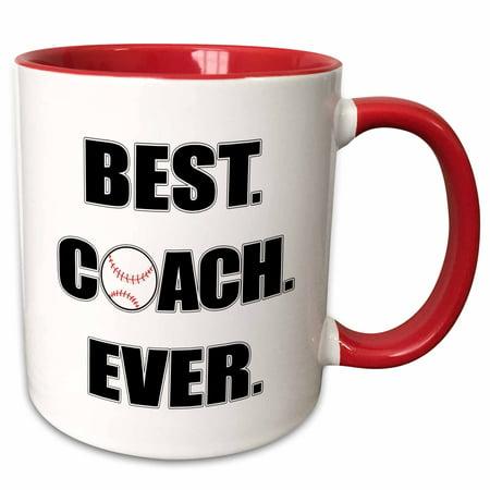 3dRose Baseball Best Coach Ever - Two Tone Red Mug,