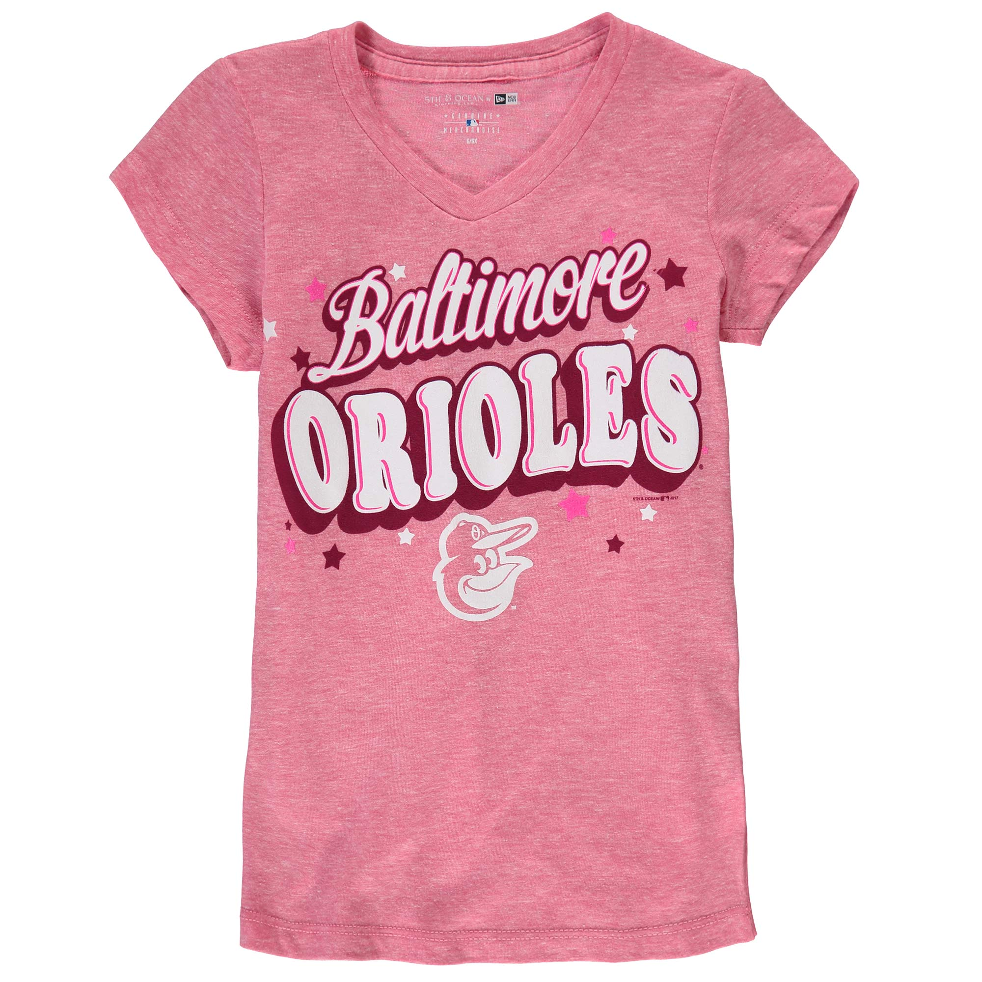Baltimore Orioles 5th & Ocean by New Era Girls Youth Stars Tri-Blend V-Neck T-Shirt - Pink