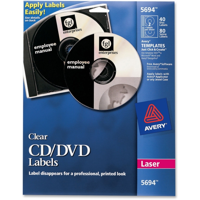 CD-ROM/DVD Laser Labels, 40/PK, Glossy Clear AVE5694