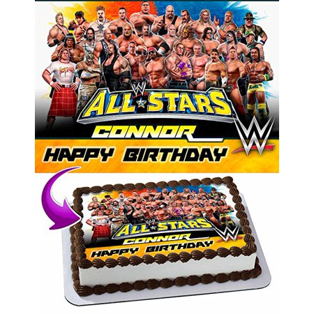 WWE WrestleMania Cake Image Personalized Topper Edible Image Cake Topper Personalized Birthday 1/4 Sheet Decoration Party Birthday Sugar Frosting Transfer Fondant Image Edible Image for cake (Wwe Cake Decorations)
