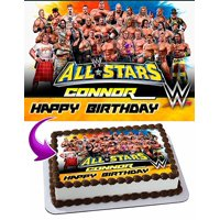 WWE WrestleMania Cake Image Personalized Topper Edible Image Cake Topper Personalized Birthday 1/4 Sheet Decoration Party Birthday Sugar Frosting Transfer Fondant Image Edible Image for cake