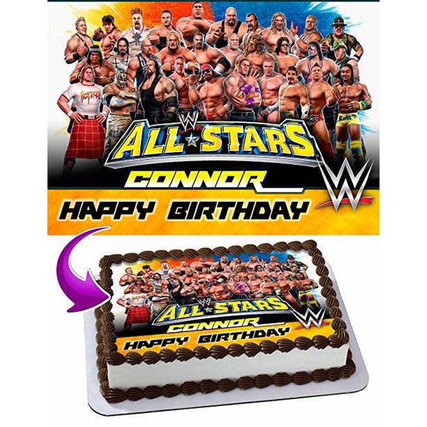 Admirable Wwe Wrestlemania Cake Image Personalized Topper Edible Image Cake Birthday Cards Printable Opercafe Filternl