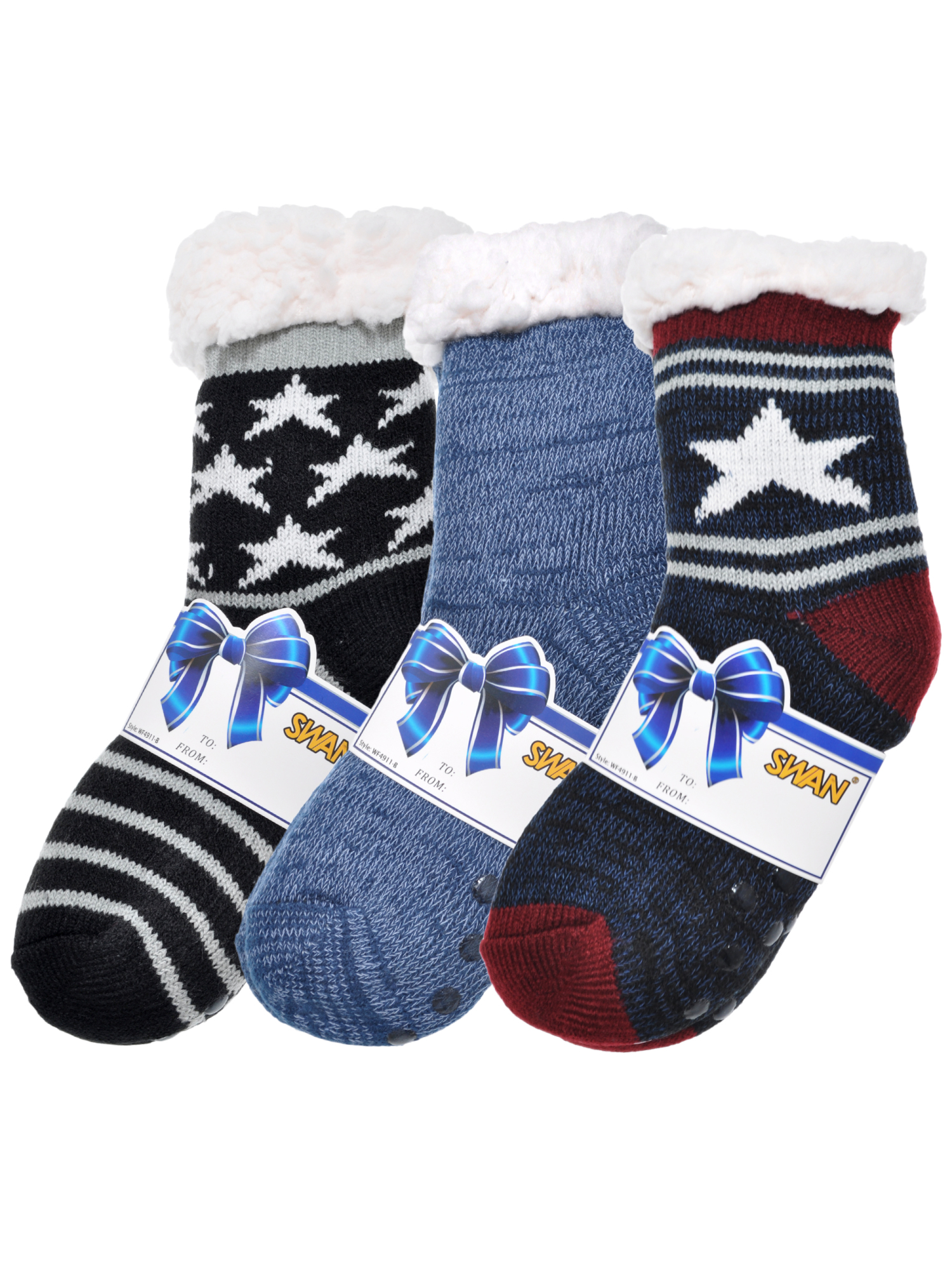 Angelina Kids Winter-Weight Sherpa-Lined Knitted Thermal Crew Socks (3-Pairs)