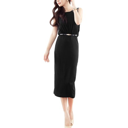 Summer Round Neck Mid Calf Length Cocktail Party Dress Black Xs For