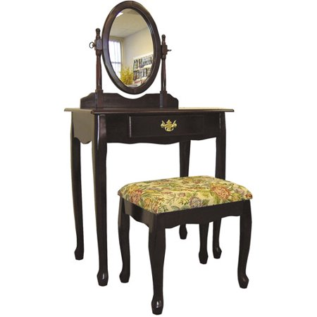 Cherry Vanity Bench - Ore International Cherry 3-Piece Vanity Set