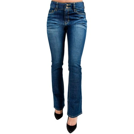 Miss Halladay Women's Whisker Wash Skinny Bootcut jeans Two-Button High Waist