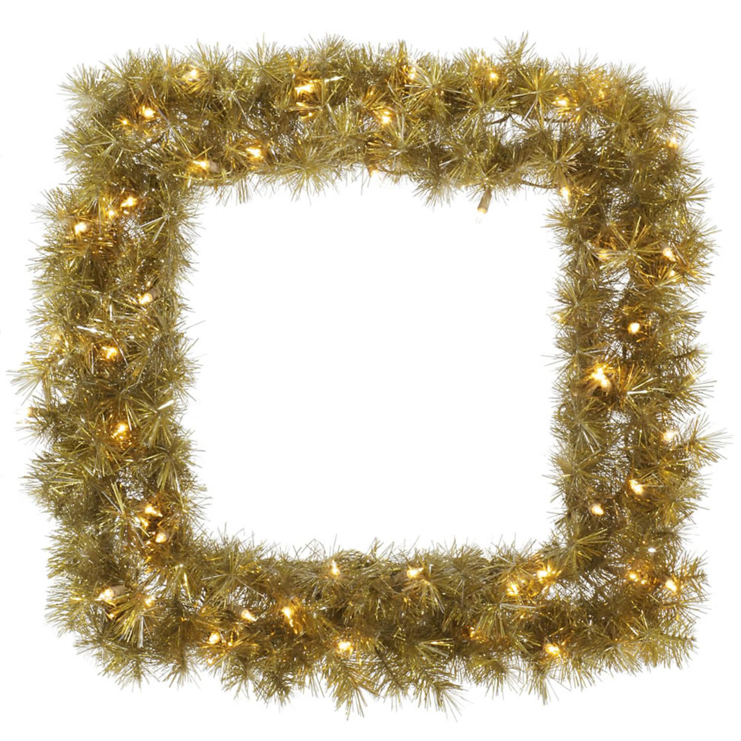 "30"" Pre-Lit Gold & Silver Tinsel Artificial Christmas Square Wreath - Clear Dura-Lit Lights"