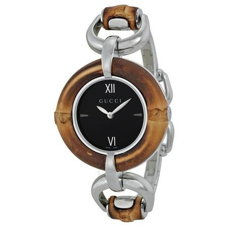 a0575821adb Gucci - Black Dial Bamboo and Stainless Steel Ladies Watch YA132401 -  Walmart.com