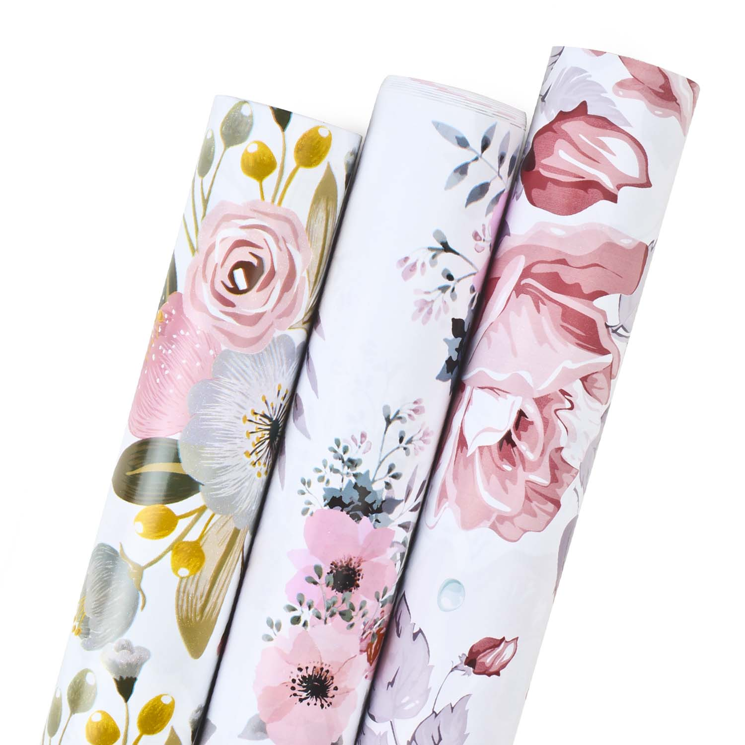 "LaRibbons Modern Floral Wrapping Paper White/Pink Multi 30"" x 120"" 3 Roll Pack"