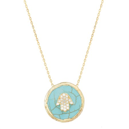 - Simulated Turquoise and Cubic Zirconia Hamsa Necklace in Yellow Gold over Sterling Silver