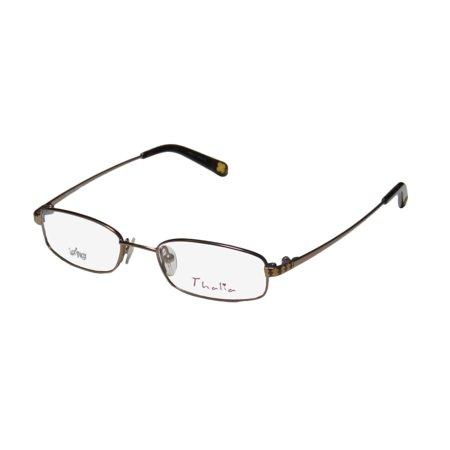 New Thalia Jimena Childrens/Kids/Girls Designer Full-Rim Brown Flexible Temples Optical Children Girls Frame Demo Lenses 44-16-125 Eyeglasses/Eyeglass (Temple Optical)